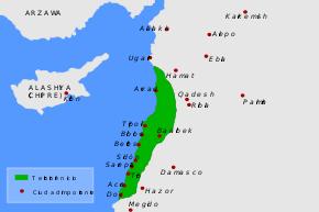 Mapa de Fenicia y ubicación de Tiro