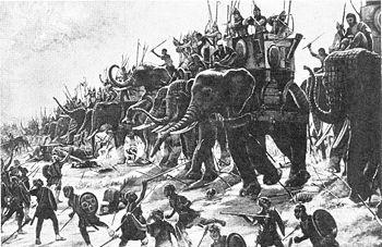 Carga de los elefantes púnicos en Zama.