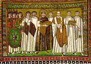 Justiniano en los mosaicos de la iglesia de San Vital en Rávena