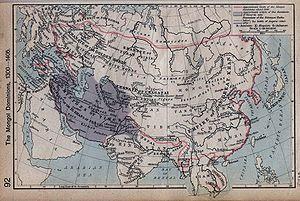 Mapa de los dominios mongoles, entre 1300 y 1405