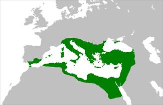 Mapa del Imperio Bizantino en 550 d.C bajo el reinado de Justiniano