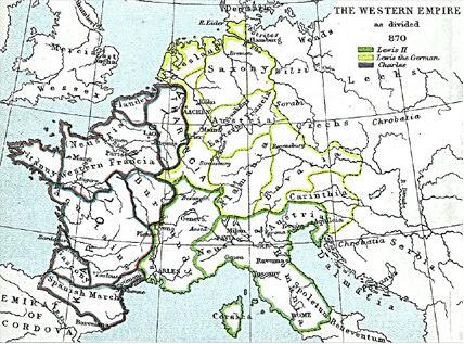 El reino de Carlomagno sobrevivió a su fundador y se extendió por gran parte de la Europa occidental, sin embargo, sus sucesores se mostraron incapaces de mantenerlo. El mapa muestra los territorios del el emperador Luis II (verde), y los del rey de los francos orientales Luis el Germánico (amarillo) y occidentales Carlos el Calvo (morado) tras el reparto del tratado de Mersen (870).